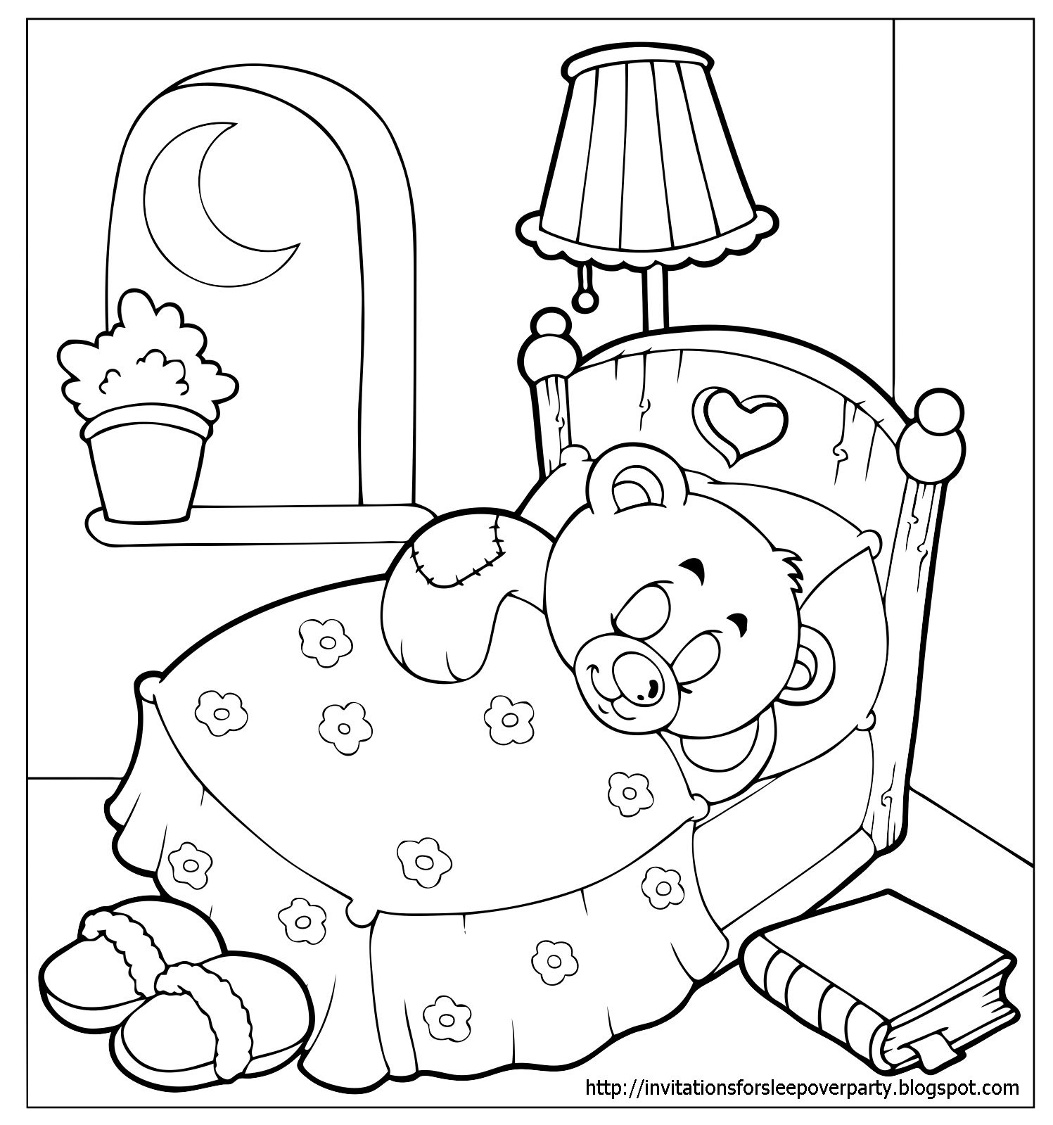 Invitations for sleepover party for Party coloring pages