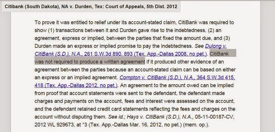 Dulong v Citibank and progeny - Proof of contract no longer required in credit card debt collection suit