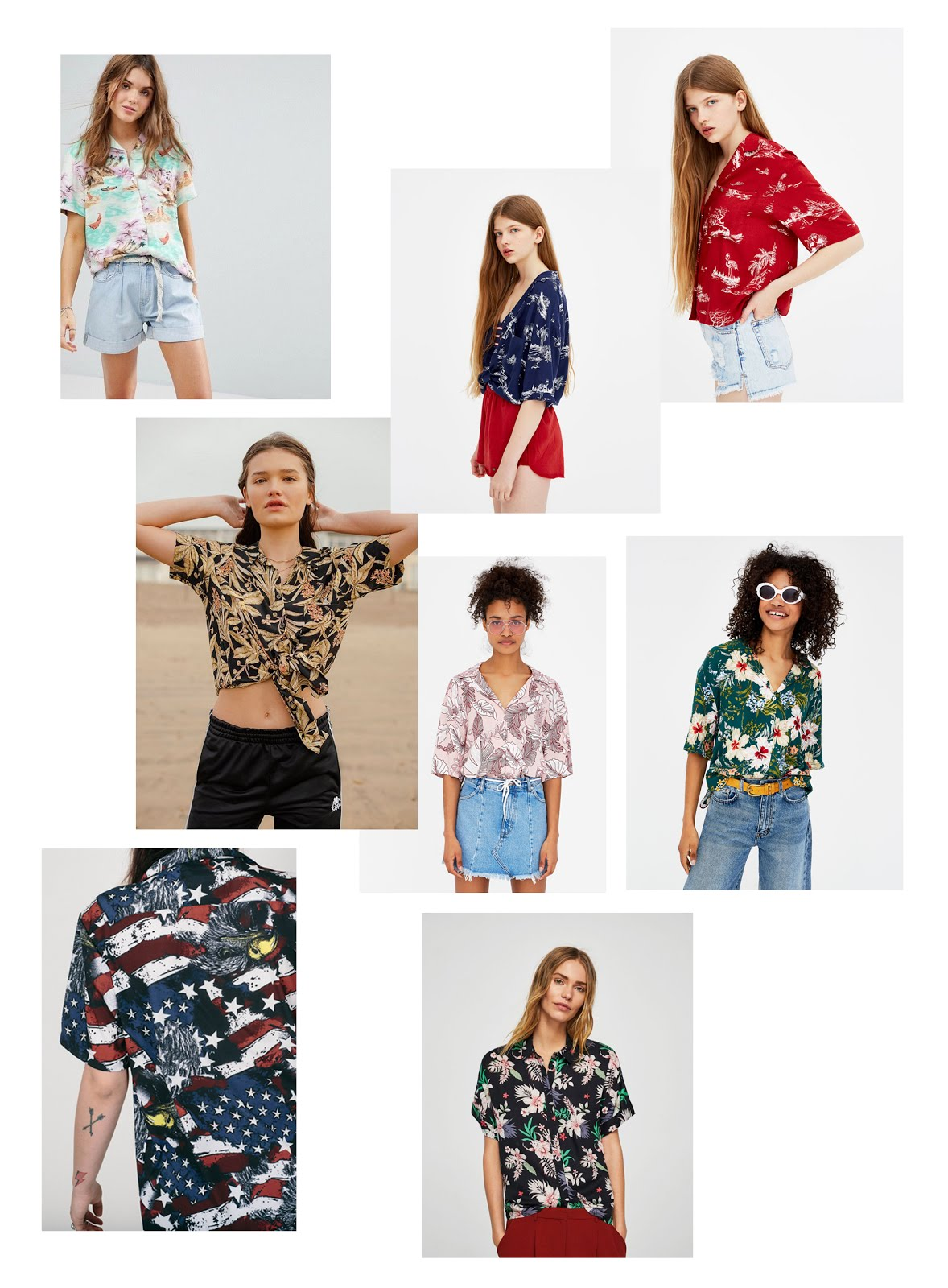 Hawaiian shirt, tropical, aloha, short sleeve, flowers, trend 2018, top 10, SS18, levi's, pull & bear, asos, mango