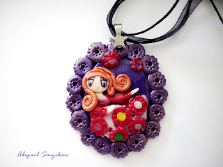 polymer clay, pendant, anime girl