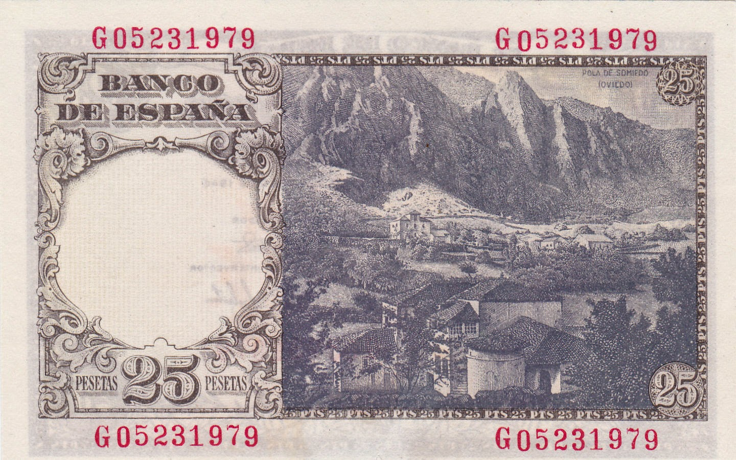 Spain money currency 25 Pesetas banknote 1946 Pola de Somiedo, Asturias