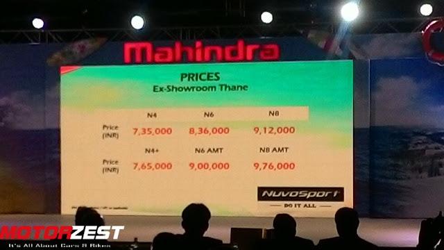 Mahindra NuvoSports Complete Price List