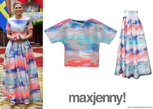 Crown Princess Victoria wore Maxjenny glimmer colour plain top and glimmer colour k-long skirt