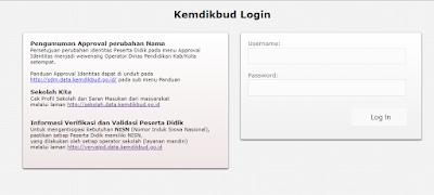 Username dan pasword dapodikdasmen