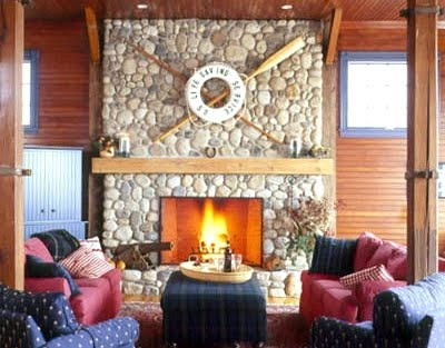 life preserver ring above fireplace mantel wall decor idea