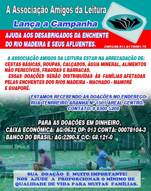 Associação Amigos da Leitura lança Campanha para ajudar famílias desabrigadas pelas enchentes do rio Madeira e seus afluentes