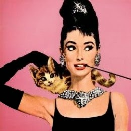 audrey hepburn with cat art poster
