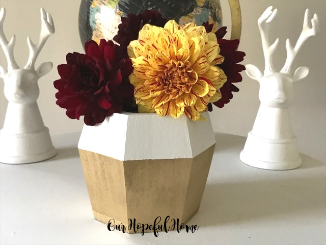 DIY gold white painted hexagonal wooden vase