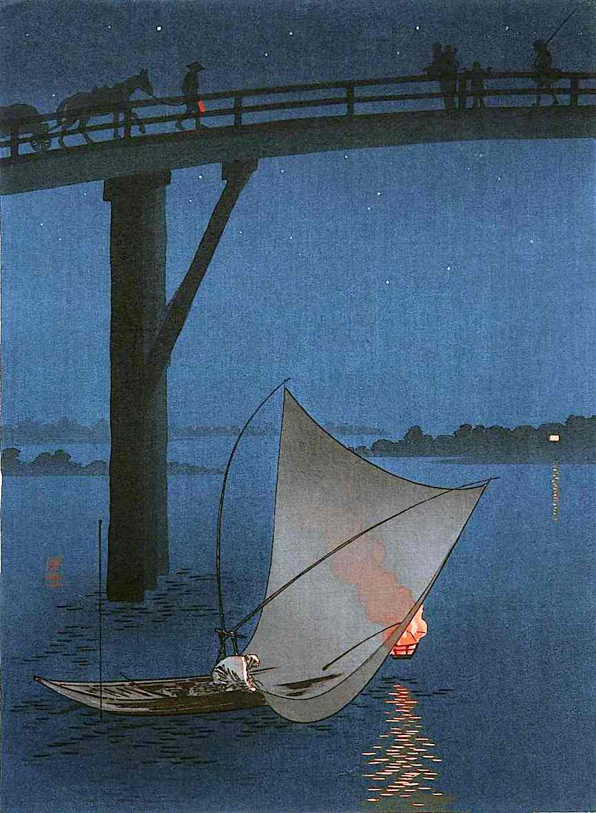Yoshimune Arai 1930? fisherman under a bridge at night