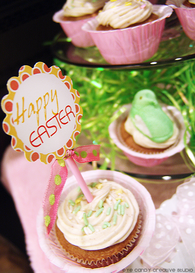 easter printables, peeps, easter cupcakes, easter dessert display
