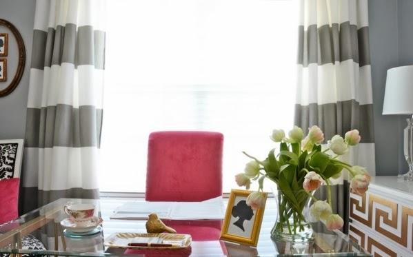 decoración oficina gris y color