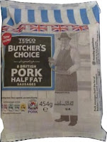 Tesco Butchers choice half fat sausages