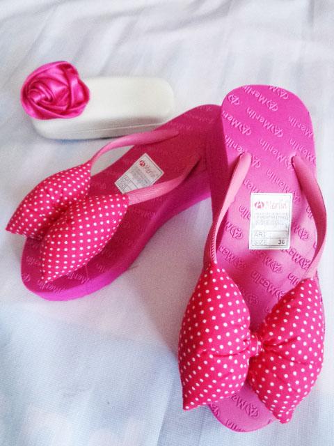 Sandal ASLI Merlin Spon TINGGI Polkadot Pita pink