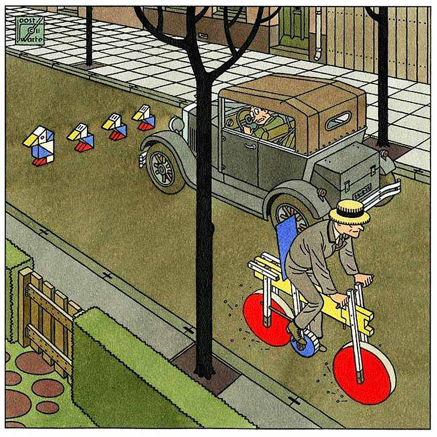 a Joost Swarte illustration of neighborhood traffic