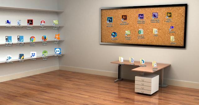 خلفيات مميزة لسطح المكتب على شكل رفوف لترتيب أيقونات سطح المكتب بطريقة مميزة Shelves Wallpaper - موقع دروس4يو Dros4U