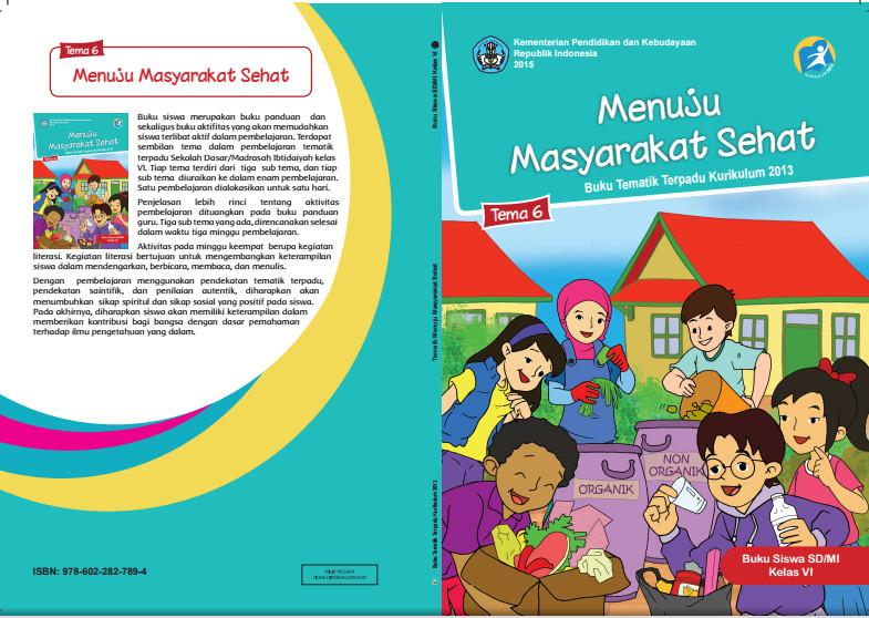 Download Buku Tematik Kurikulum 2013 SD/MI Kelas 6 Tema 6 Menuju Masyarakat Sehat Edisi Revisi Format PDF