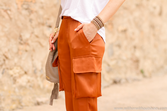 Orange cargo pants MANGO