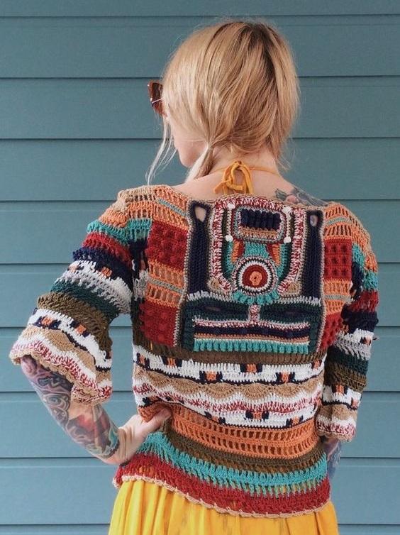 celtycki sweterek szydełkiem