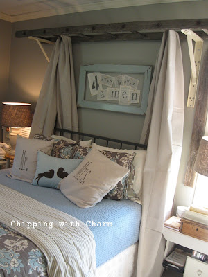 Chipping with Charm:  Ladder Bed Canopy...http://chippingwithcharm.blogspot.com/
