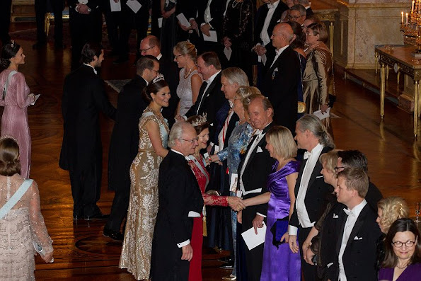 Traditional dinner for this year's Nobel winners at Royal Palace. Crown Princess Victoria, Prince Carl Philip, Princess Sofia, Princess Madeleine