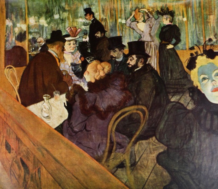 """At the Moulin Rouge"" (Self portrait in the crowd.) by Henri de Toulouse-Lautrec"