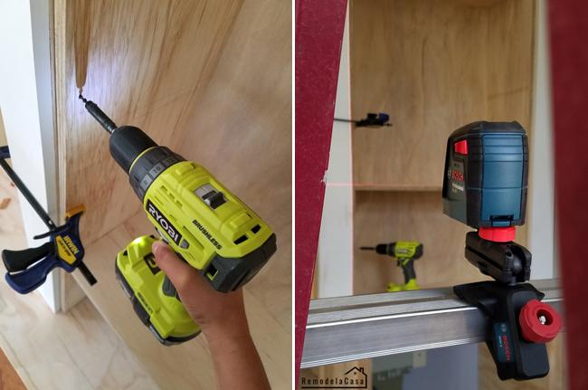 Ryobi Cordless brushless drill driver - Bosch self leveling cross line laser