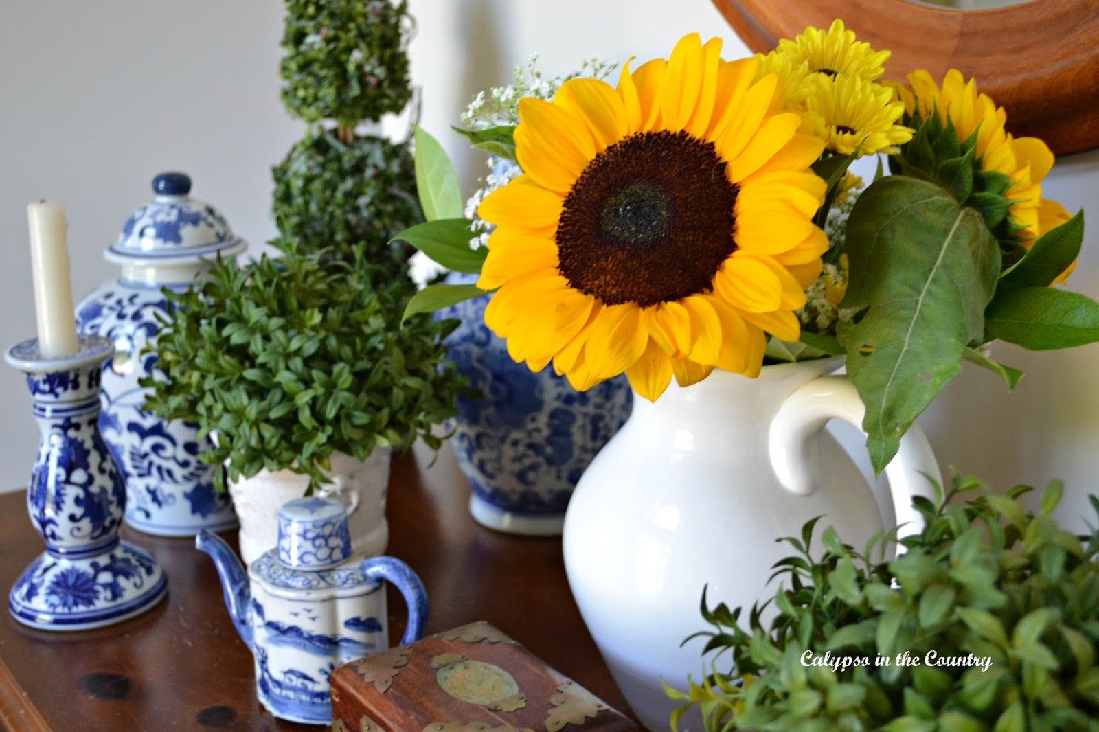 Sunflowers in the foyer