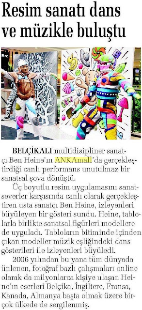News report in Hurriyet Ankara Guclu Anadolu paper - Ben Heine Art - Flesh and Acrylic