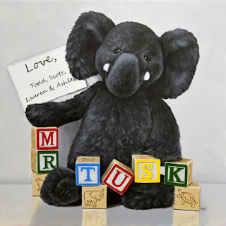 photorealism acrylic painting of a stuffed toy elephant and wooden block letters