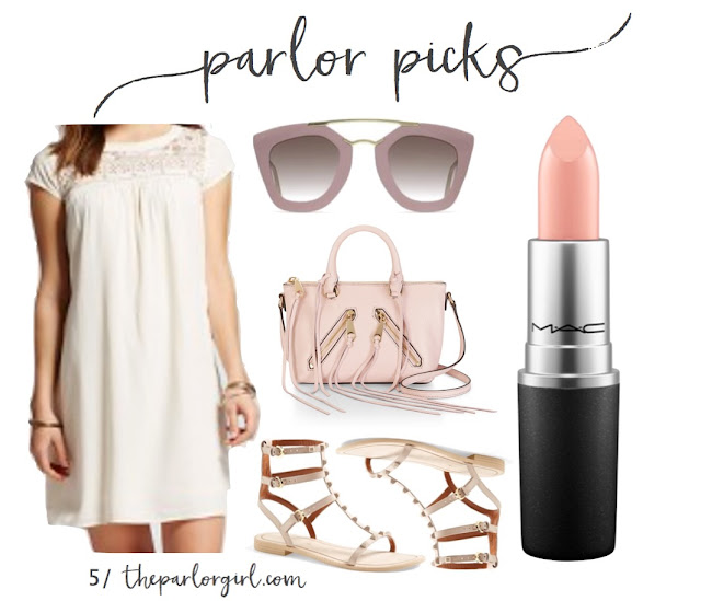 spring neutral outfit idea cream shift dress blush studded gladiator sandals pink satchel cross body bag with fringe blush retro sunglasses peach nude lipstick