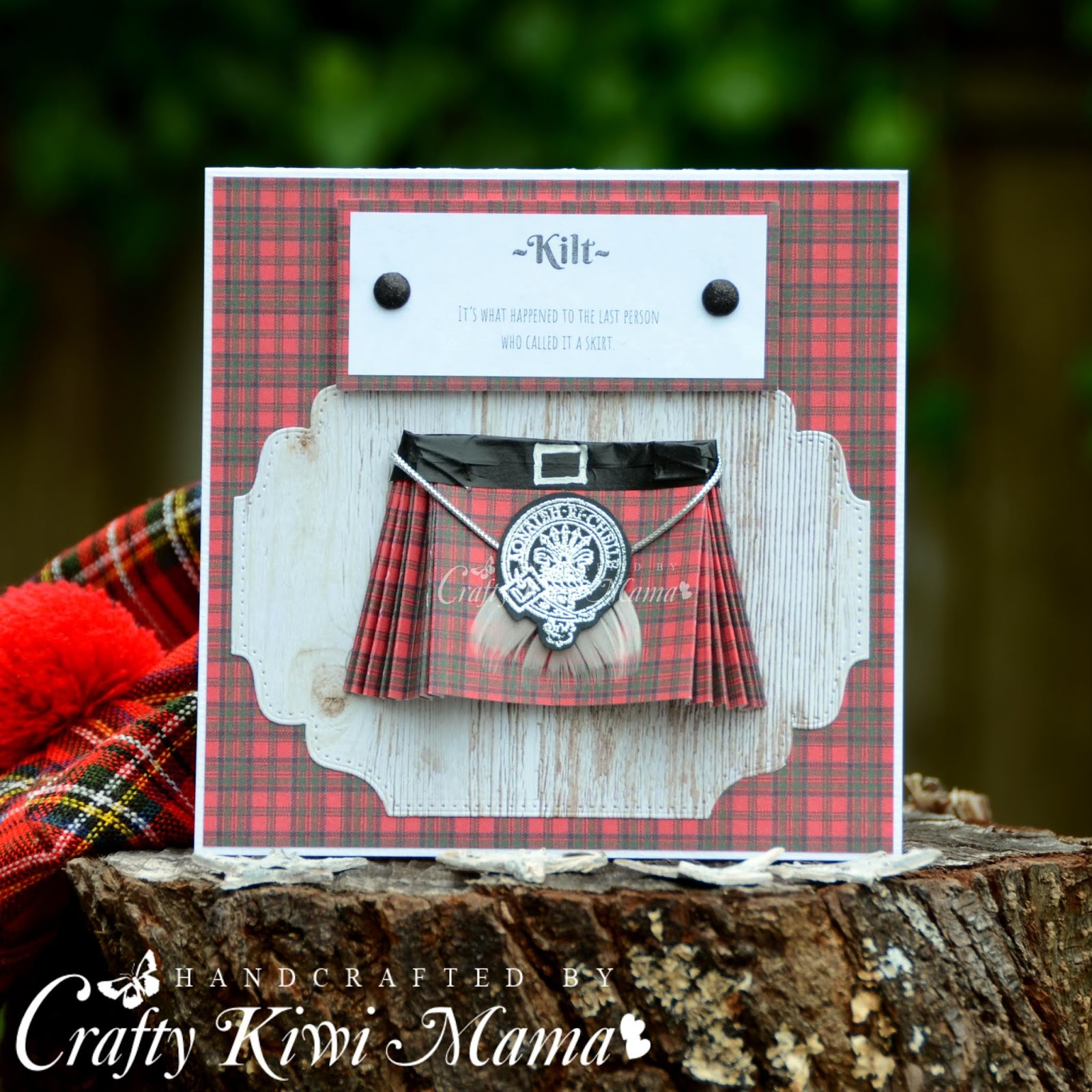 dffbe95ac6 I'd seen this done in a few cards on Pinterest, the folded tartan paper to create  the kilt. So I just winged it and guessed ...