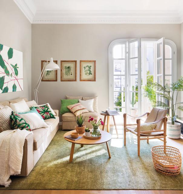 Motive vegetale și un decor primăvăratic pentru un apartament de 80 m² din Barcelona
