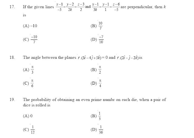 CBSE  Mathematics  Sample paper   Class 12