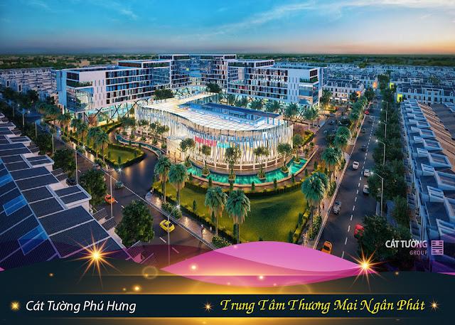 Bán đất sổ đỏ TP Đồng Xoài, Bình Phước: Trung tâm thương mại Ngân Phát tại dự án đất nền Cát Tường Phú Hưng