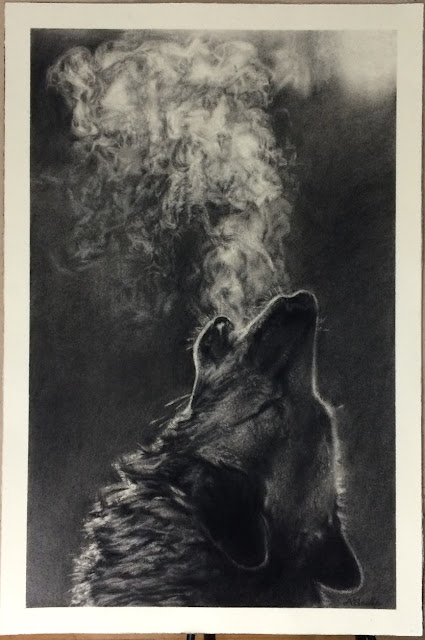 wolf, wolfblowing smoke, black and white, charcoal drawing, commission