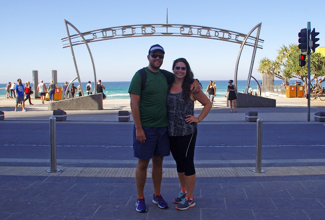 Couple with Surfers Paradise Sign Gold Coast