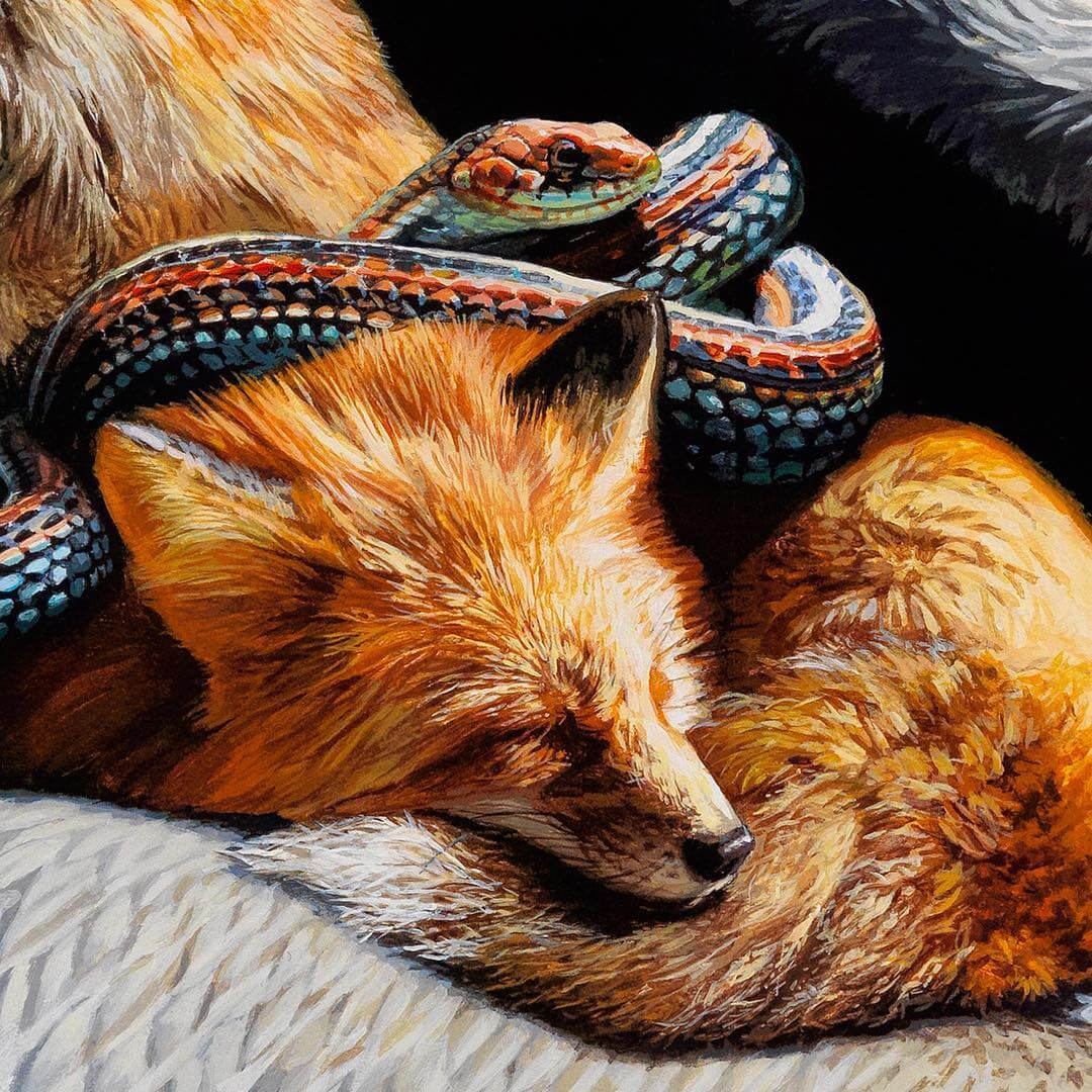 Beautiful Hyperrealistic Paintings Of Migrating Animals That Carry Tiny Ecosystems On Their Backs