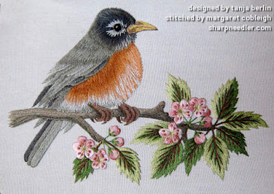 Robin on Blossom Branch (by Tanja Berlin): Thread painted robin completed