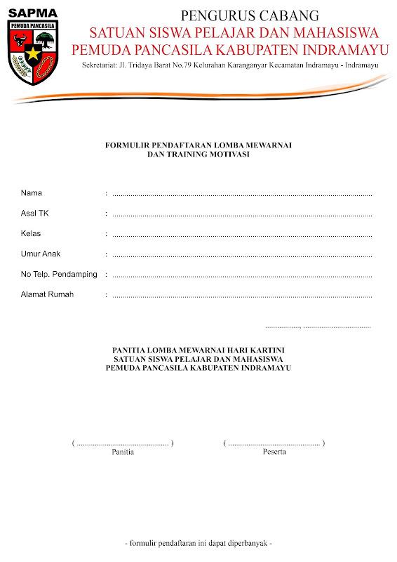 Formulir Pendaftaran Lomba Mewarnai Hari Kartini