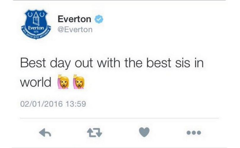 The person running the Everton Twitter account is having a great day out with her/his sister