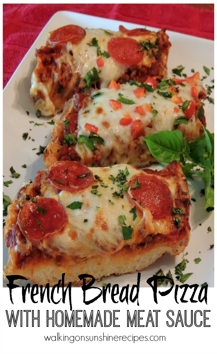 French Bread Pizza with Meat Sauce makes a great inexpensive quick meal.