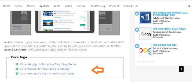 artikel terkait dalam postingan blog blogger