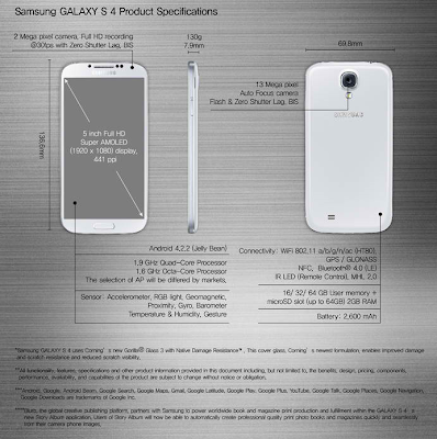 Samsung Galaxy S4 Producy Specifications