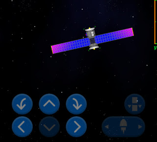 Large comms satellite in orbit with controls.