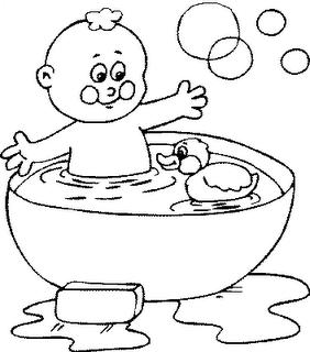COLOREA TUS DIBUJOS: Niño en el baño