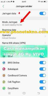 Cara menampilkan jaringan Sinyal 4G di VIVO Y83