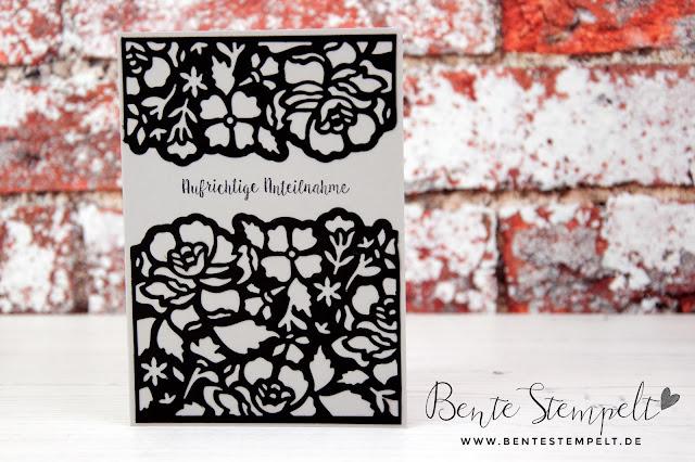 Stampin Up Thinlits Florale Fantasie Doppelt gemoppelt Beileid Trauerkarte Blumen Floral Flower Tod Abschied Beerdigung Sympathy RIP Main Bente Stempelt