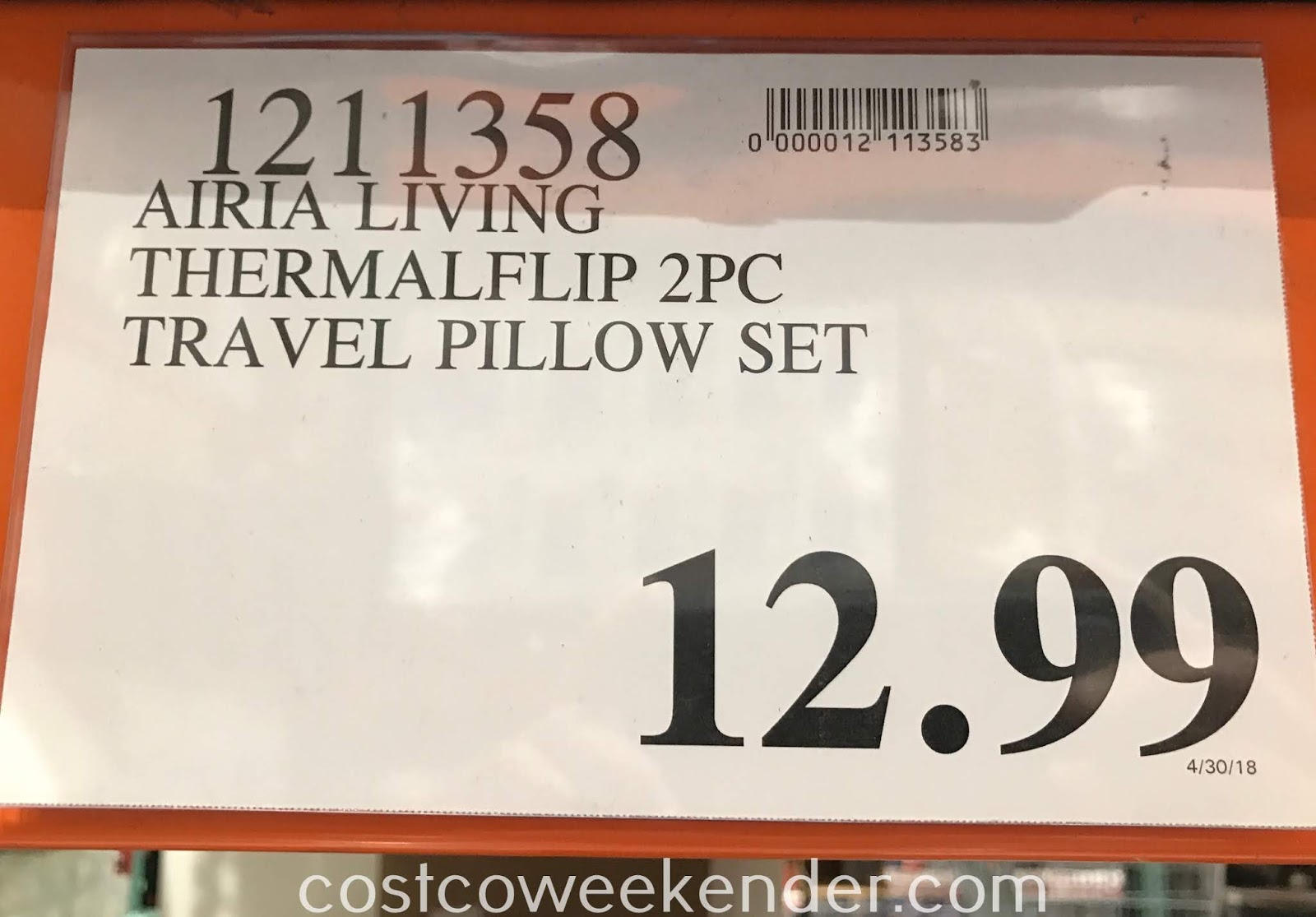 Deal for the Airia Living ThermaFlip 2 Piece Travel Pillow Set at Costco