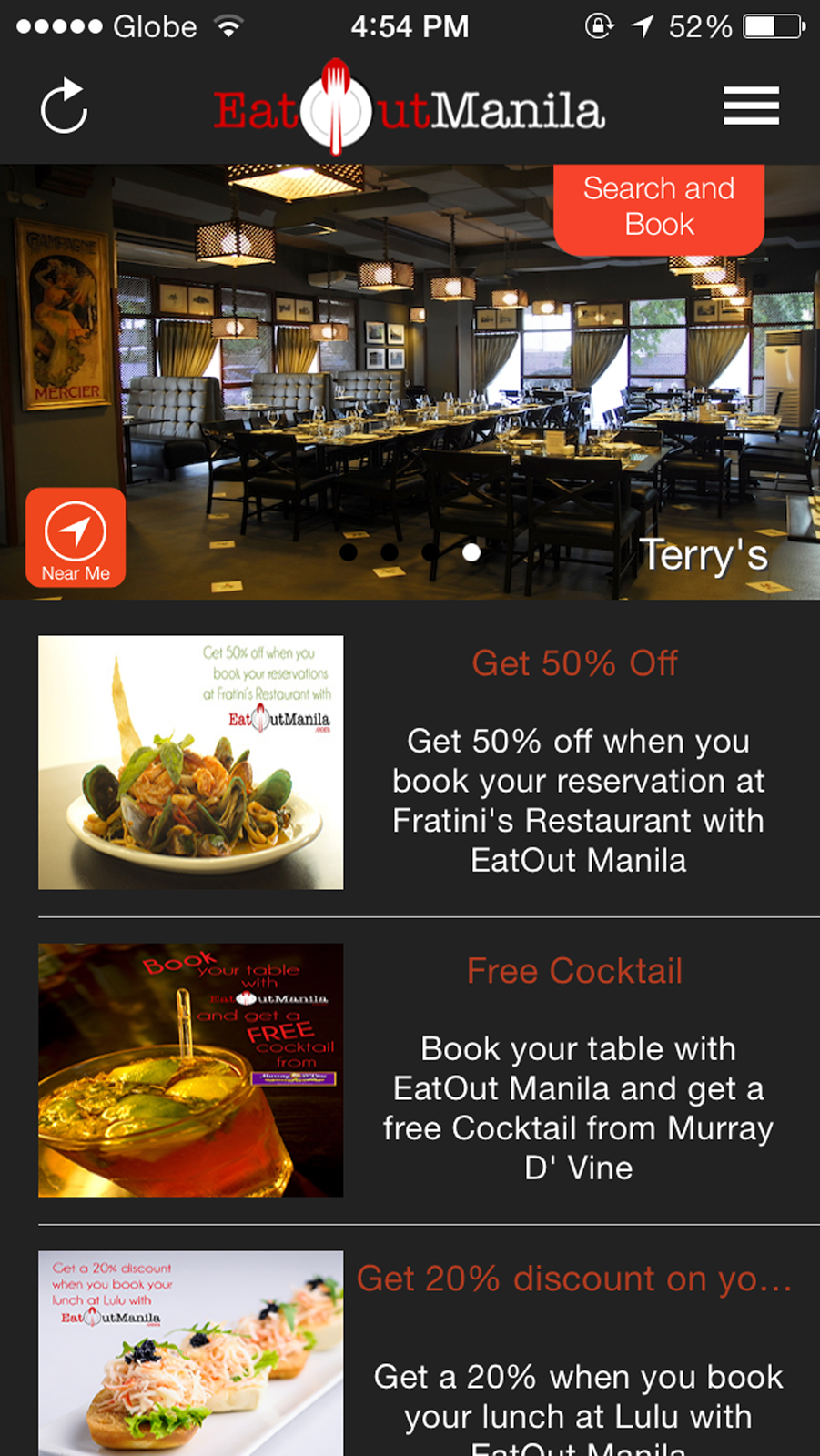 Eat Out Manila Interface on iOS