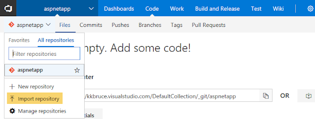 VSTS Import a repository2
